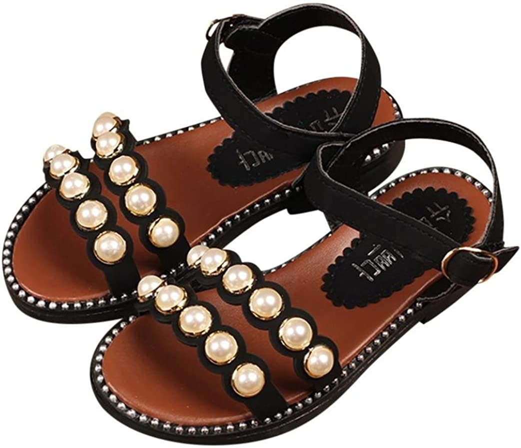 Toddler//Little Kid//Big Kid Voberry Girls Pearl Flat Sandals Cute Summer Open Toe Ankle Strap Dress Sandals