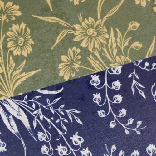 (Nunn Design Transfer Sheet Green/Navy Florals for Scrapbook - Fits Patera)