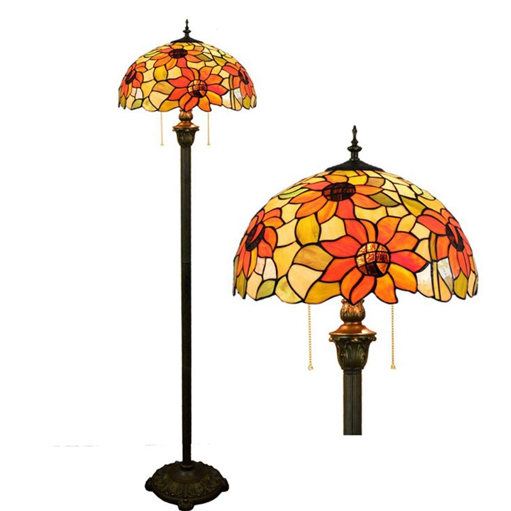 Floor Lamp European Tiffany Style Stained Glass Living Room Dining Room Bedroom Floor Lamp Sunflower Bronze Lamp 40 162cm (Size : 40162cm, Wattage : 240v)