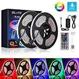 GLIME LED Strip Lights 10m 300 LEDs Color Change IP65 Waterproof 5050 RGB LED Strips Lights Kit with 12V Power Adapter 44 Key IR Remote Control for Christmas Garden Bar Party Home Decorations (2x5m)
