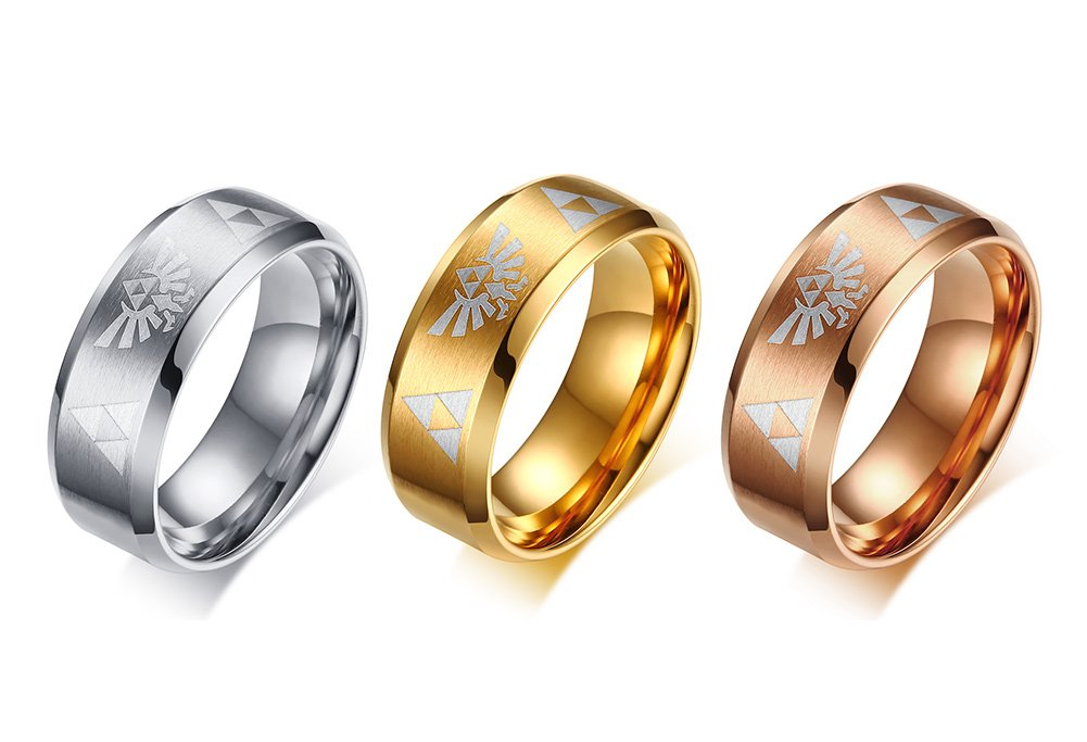 Mealguet Jewelry 3 Pcs 8mm Stainless Steel Brushed Finish Legend of Zelda Triforce Ring Bands for Men Boy,Comfort fit,size 10 by Mealguet Jewelry