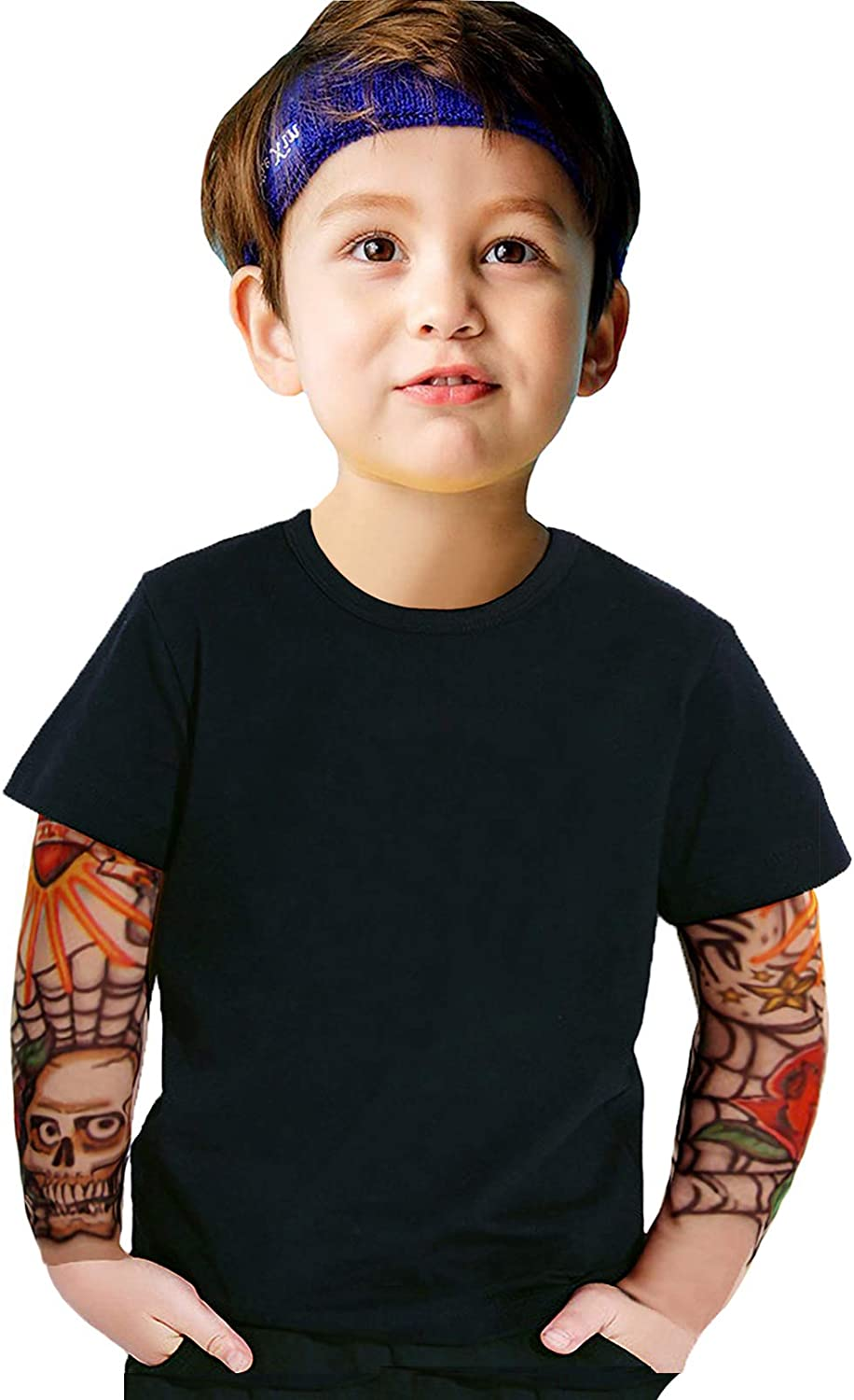 Kids Toddler Boys Cotton Shirts Tattoo Sleeve