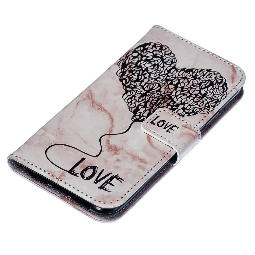 Mlorras iPhone XR H/ülle PU Leder Klappbares Magnetverschlu/ß Handyh/ülle Schutzh/ülle f/ür iPhone XR 6.1 inch Klappen mit Integrierten Kartensteckpl/ätzen Marmor gepr/ägte Liebe Rosa