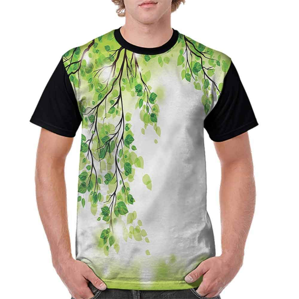 Round Neck T-Shirt,Summer Meadow with Daisy Fashion Personality Customization