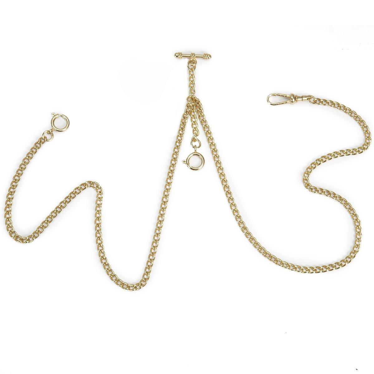 ManChDa Pocket Watch Double Albert Chain T-Bar Watch Chain Link 16 inch 3 hook Champagne Golden Gorgeous
