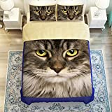 EsyDream Home Bedding Sets,3D Printing Cat Bedding Sheet Sets,Animal Cute Cat Kids Duvet Cover 100% Polyester Cat Bedlinen (No Comforter),Queen/Full Size