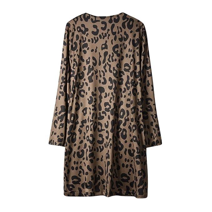 MEIbax Moda mujer abrigos y tops calientes Mujeres Manga Larga de impresión de Leopardo Bolsillo Moda Abrigo Blusa Camiseta Cardigan Top: Amazon.es: Ropa y ...