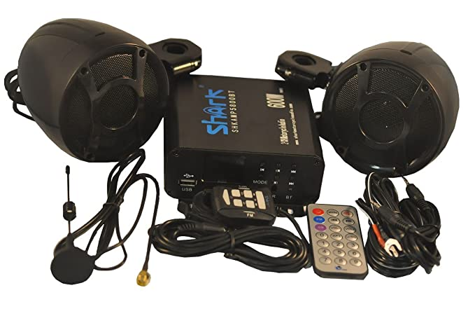 Amazon Shark Motorcycle Marine Speaker Stereo System With Amp