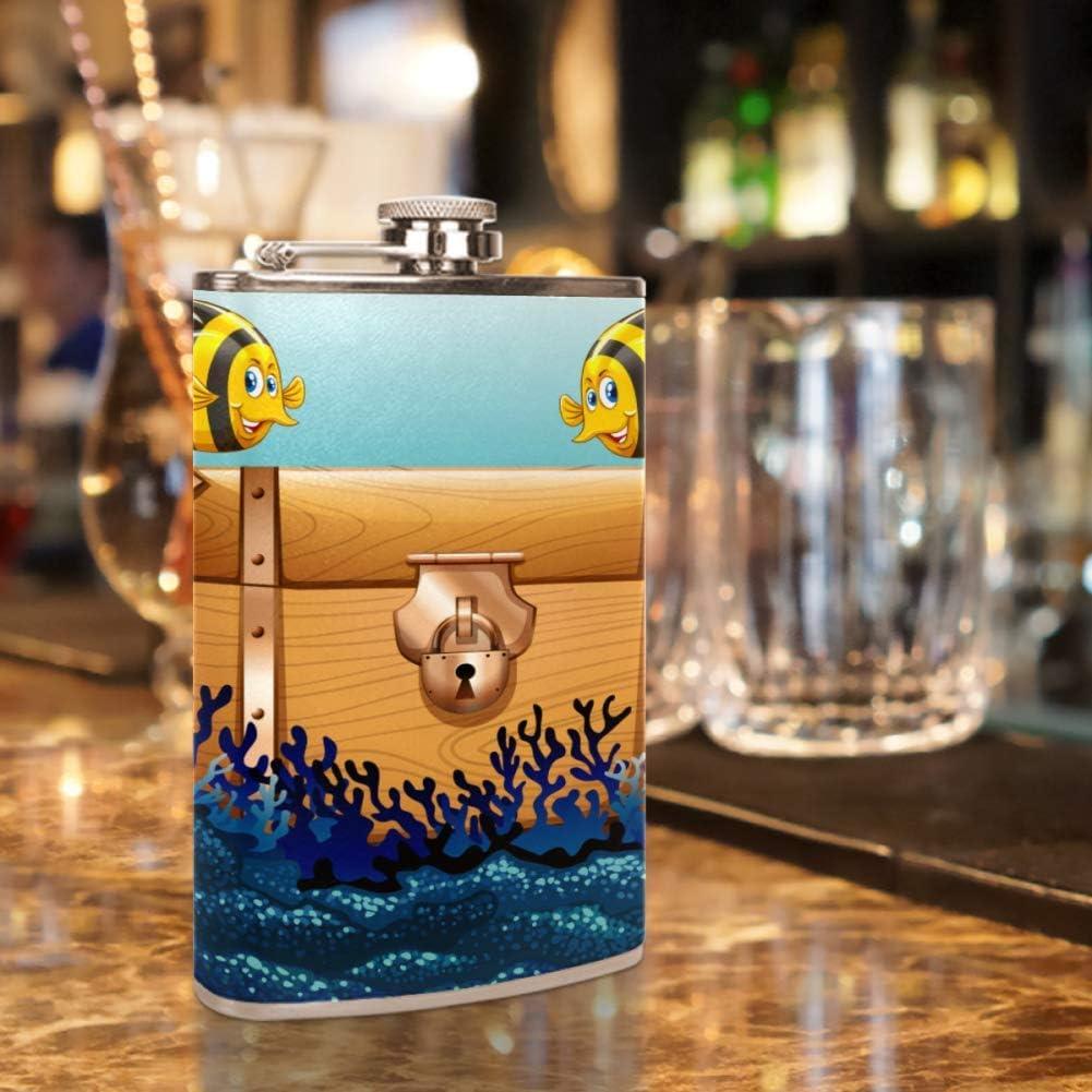 Dibujos animados de peces tropicales Frasco de la cadera 8 oz ...