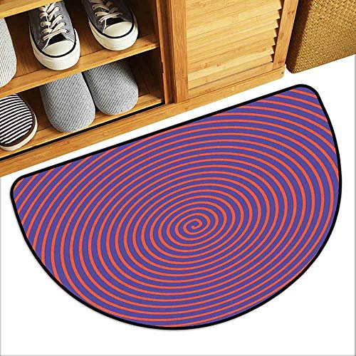 DILITECK Interior Door mat Psychedelic Hypnotic Spiral Pattern Spell Theme Optic Illusion Effect Retro Illustration Quick and Easy to Clean W24 xL16 Violet Orange]()