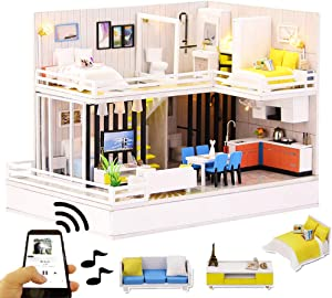 Spilay DIY Miniature Dollhouse Wooden Furniture Kit,Handmade Mini Modern Model Plus with Dust Cover & Bluetooth Audio,1:24 Scale Creative Doll House Toys for Children Lover Gift