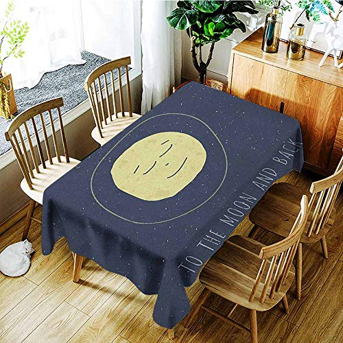 XXANS Waterproof Table Cover,I Love You,Happy Faced Sleeping Moon Cozy Valentines Expression Peaceful Image,Dinner Picnic Table Cloth Home Decoration,W54x72L Cadet Blue Yellow