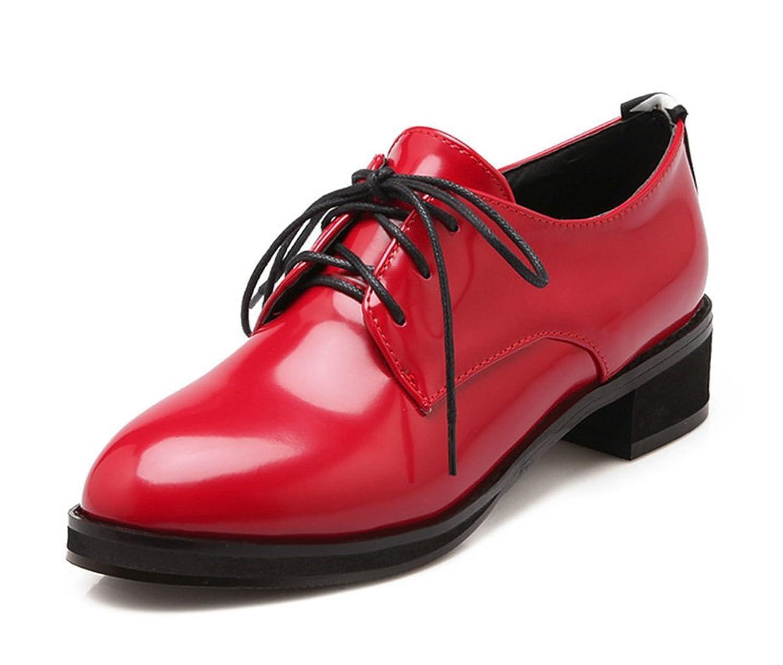 Aisun Women's Formal Simple Letter Print Lace Up Flat Oxfords Shoes