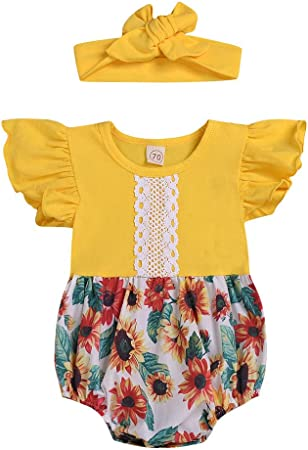 UK Toddler Baby Girls Sunflower Ruffle Lace Backless Romper Headband Outfit Set