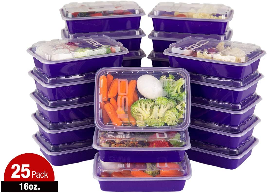 ISO Meal Prep Containers with Lids Certified BPA-Free Stackable Reusable Microwave/Dishwasher/Freezer Safe 16 oz, 25 Count, PURPLE