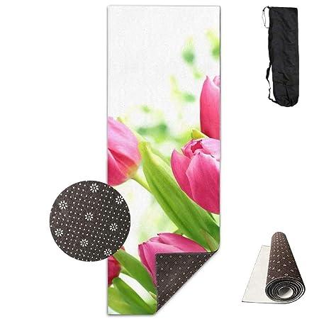 Esterilla de yoga con diseño de flores y tulipanes rosas ...