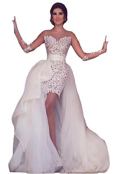 Lazacos Women S Sheer Lace Appliques Short Wedding Dress