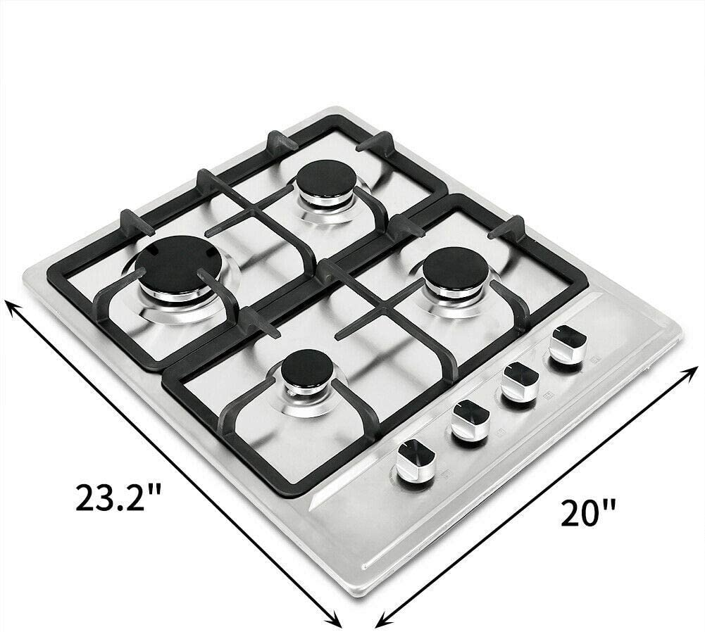 """23.2"""" Stainless Steel Cooktop Built-in Stove Natural Gas Cooker 4 Burners"""