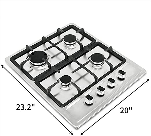 Ship from CA,US METAWELL 23 Stainless Steel 4 Burners Stove Natural Gas Hob Cooktops 11259Btu 3300W Cooker