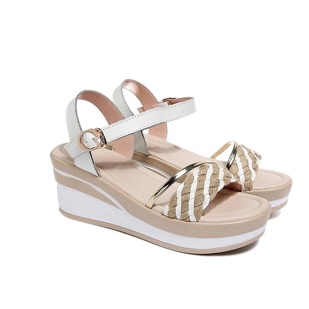 GYHDDP Zapatos de Mujer Summer Wild Wedges Sandalias Muffins Sandalias de Suela Gruesa 2 Colores Opcional, Tamaño Opcional 35 EU|A