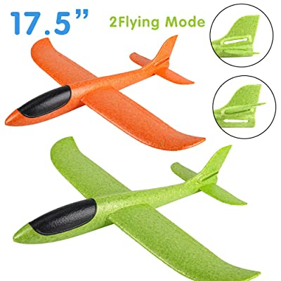 2 Pack Airplane Toys, Boy Toys, 2 Flight Mode Foam Glider Plane for Kids, Family Game Flying Toys, Birthday Christmas New Year Gift for 3 4 5 6 7 8 9 10 Year Old Boys Girls Kids Toddlers Party Favor: Toys & Games