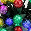 Set of 25 Multi-Color Tinsel Wide Angle LED G30 Globe Christmas Lights - Green Wire