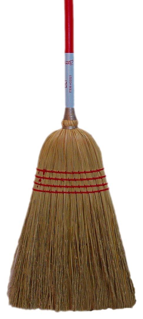 Zephyr 32021 Natural Fiber Lightweight Household Broom, 56'' Overall Length, Red (Case of 12)