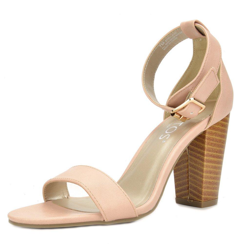 TOETOS Women's Stella-02 Pink Dust Open Toe Mid Chunky Heel Pump Sandals - 7 M US