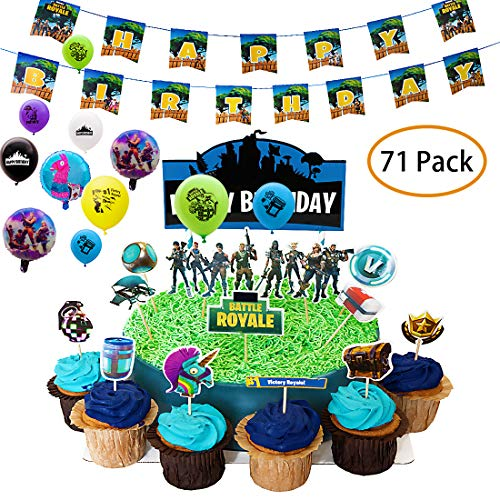 DMight Birthday Party Supplies for Game Fans, 71 Pcs Party Favors - 49 Pcs Cake Topper, 21 Pcs Balloons(8 styles), 1 Pcs -