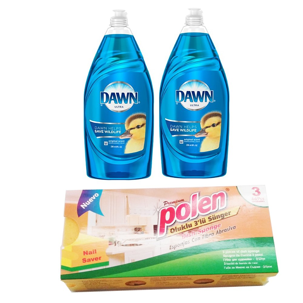 Dawn lavavajillas Liquid Original Scent Bundle con polen esponjas ...