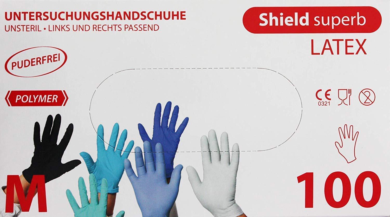Shield Superb Color Blanco 100 Unidades Guantes de l/átex sin Polvo