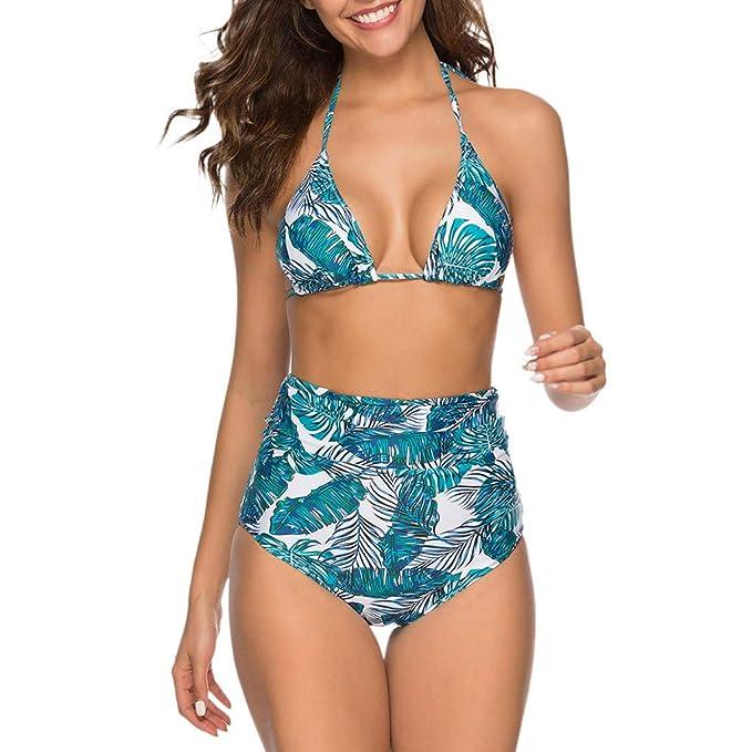 d1e18db55df6 JiaMeng Bikini de Traje de baño Dividido con Cintura Alta con ...