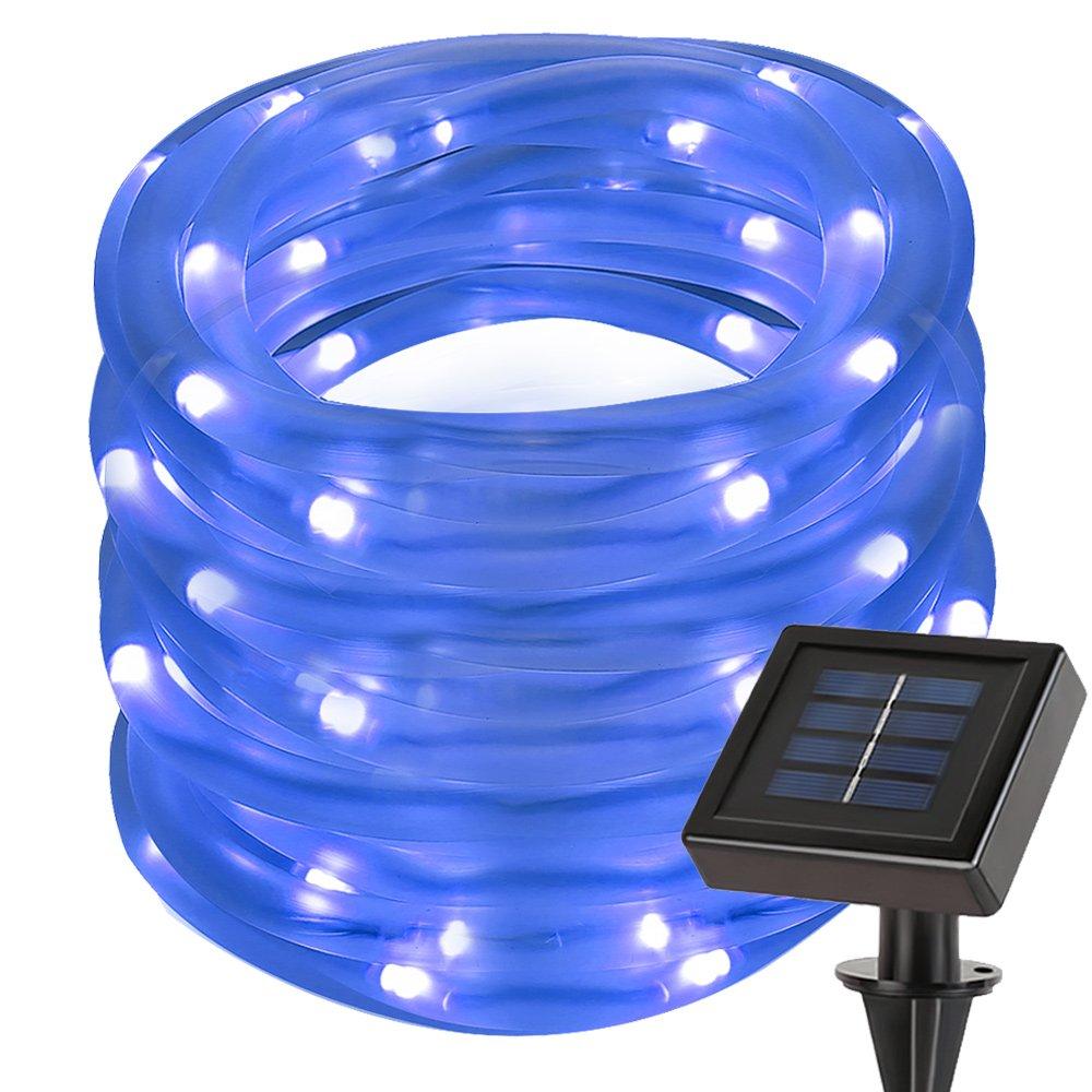 le 33ft 100 led solar power rope lights waterproof. Black Bedroom Furniture Sets. Home Design Ideas