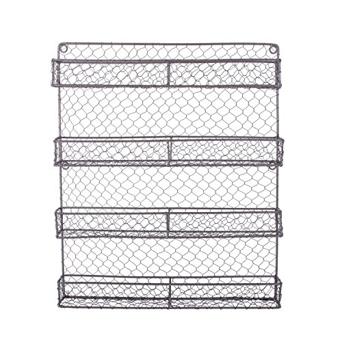DII Z01445 Vintage Spice Rack, Mounted Chicken Wire Organizer for Kitchen Wall, Pantry, or Cabinet, 16.94 x 2.3 x 19.96, 4 Tier Rustic
