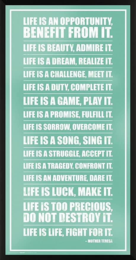 Amazoncom Mother Teresa Life Inspirational Motivational Quote