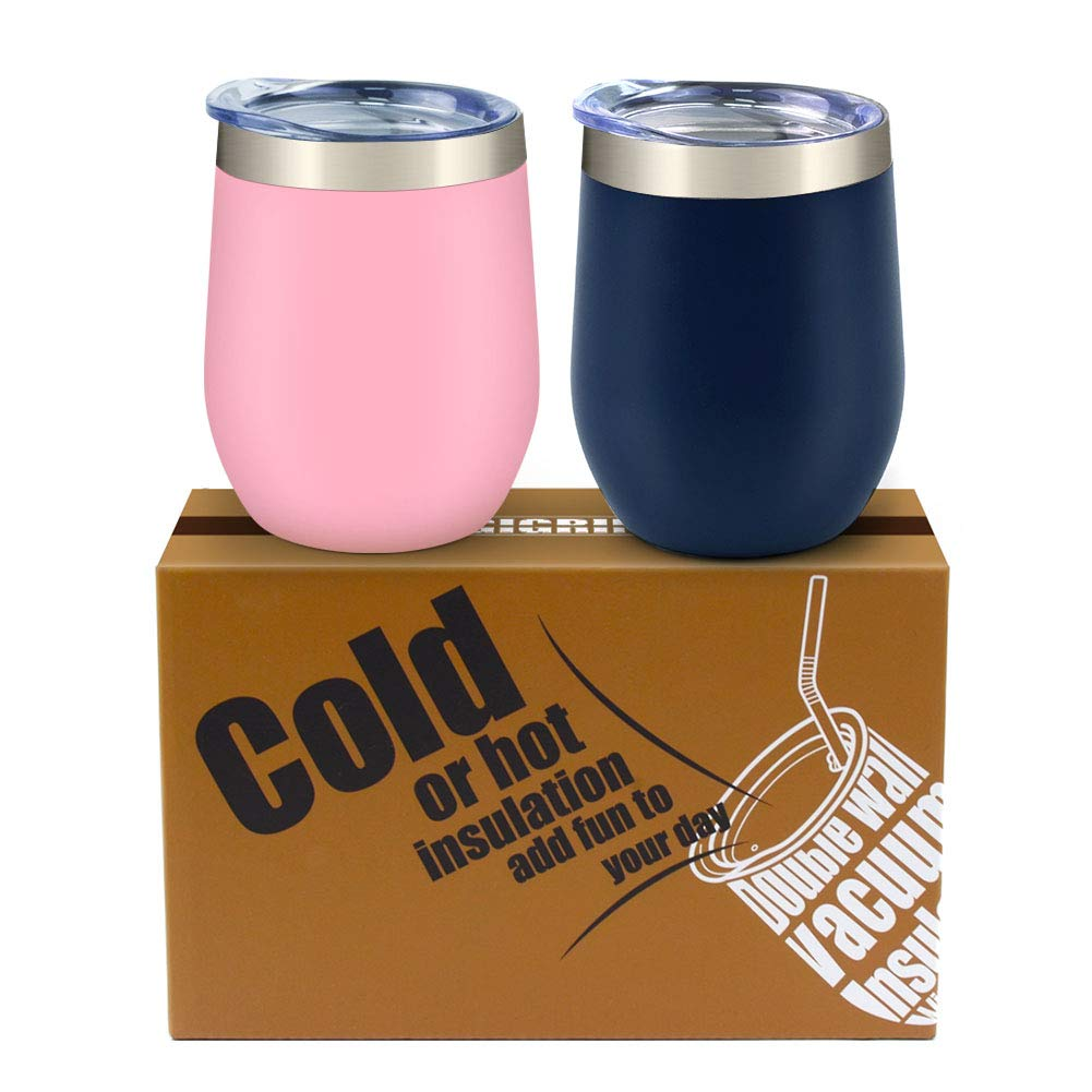 GIGRIN Stainless Steel Wine Glasses with Lid and Straw, 12oz Stemless Wine Tumbler Hot and Cold Insulated Wine Cup for Couples, Him Her - Cleaning Kit Included (Pink and Midnight Blue)