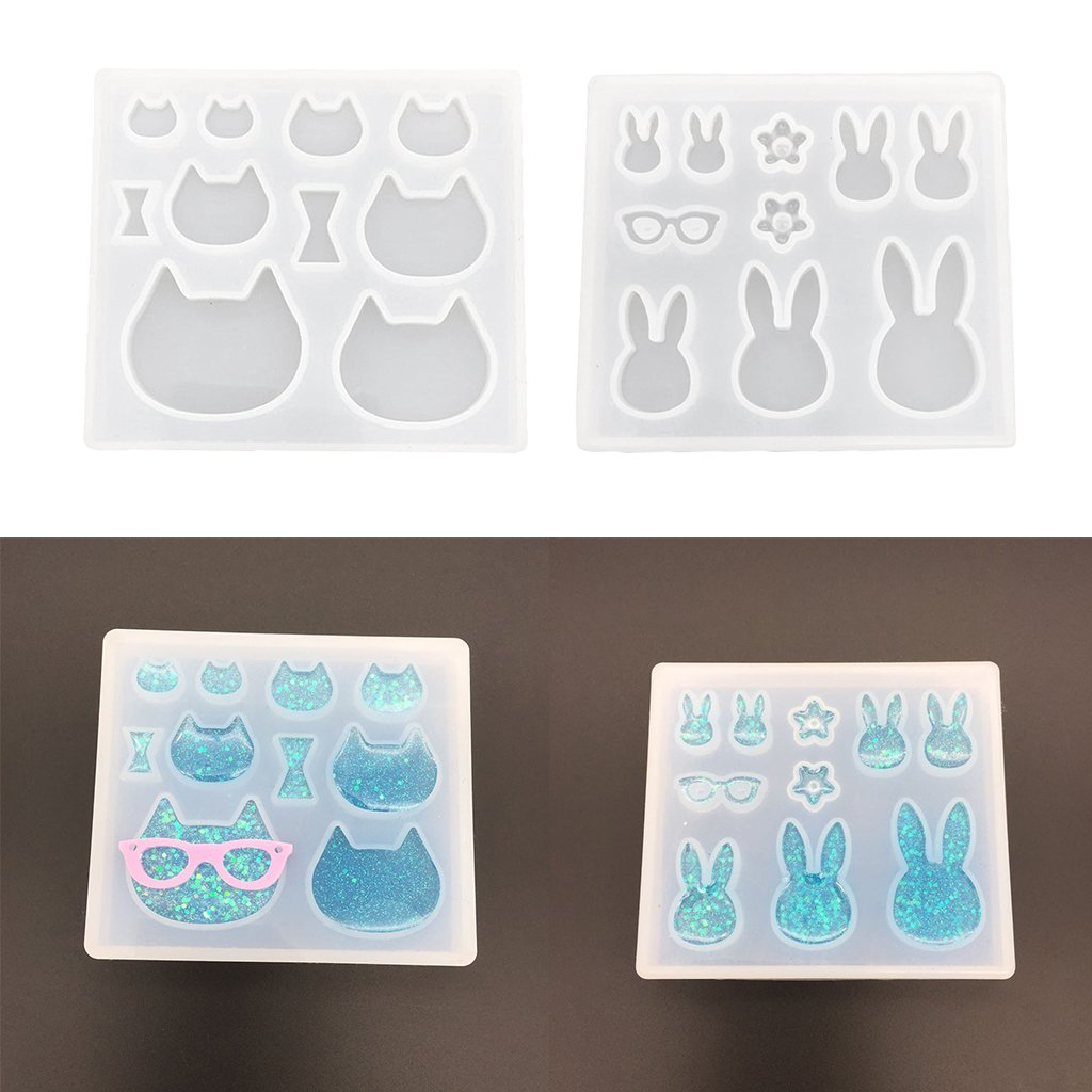 Baoblaze Silicone Cat Shape Cabochon Crystal Gem Pendants Mould Resin Ornament Mold for DIY Necklace Earrings Charms