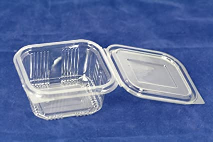 Recipientes de plástico desechables de 375 ml con tapa, ideal para comida para llevar,