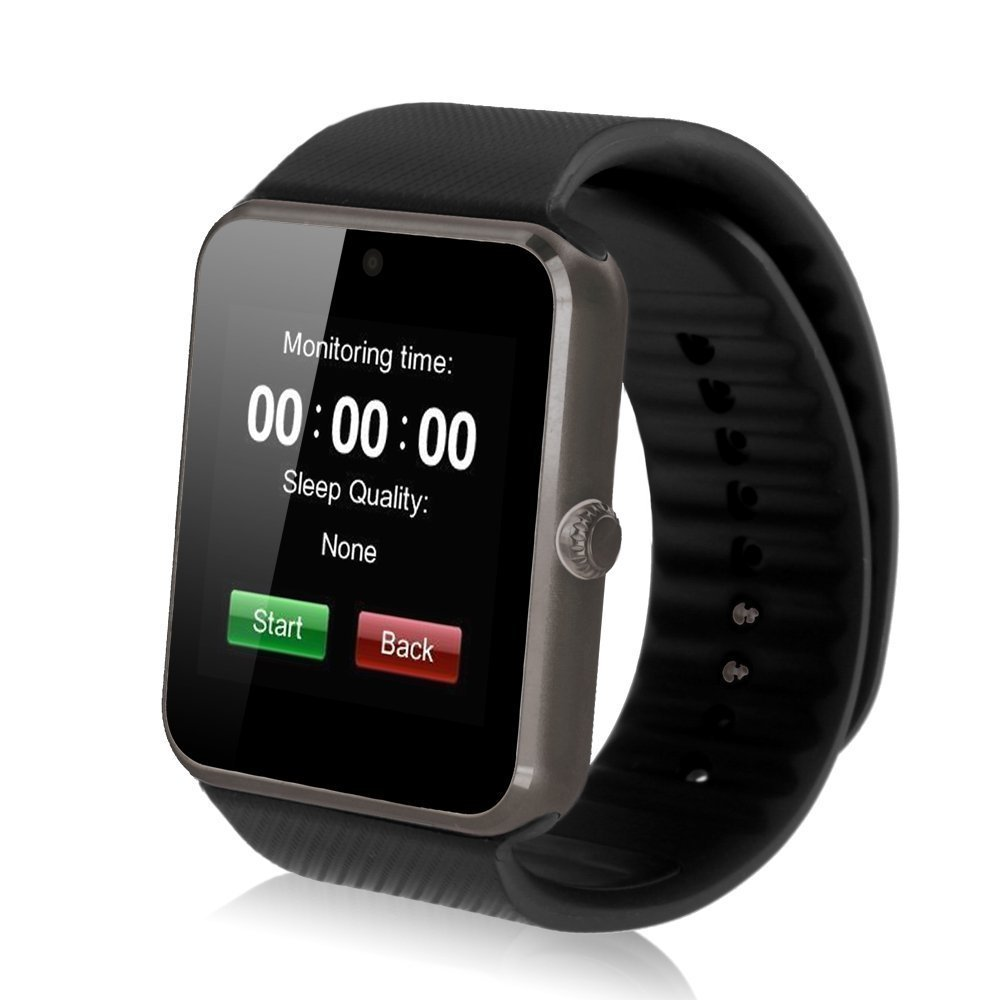 SinoPro GT08 Bluetooth Smart Watch with Camera, SIM Card Slot and TF Card for Smartphones - Black