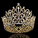 FUMUD Height 4.4''Luxury Crystal Big Queen King Gold Tiara Crown Pageant Prom Diadem Tiaras For Women Hair Jewelry Accessory (FMHG00374)