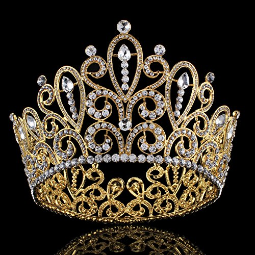 FUMUD Height 4.4''Luxury Crystal Big Queen King Gold Tiara Crown Pageant Prom Diadem Tiaras For Women Hair Jewelry Accessory (FMHG00374) ()