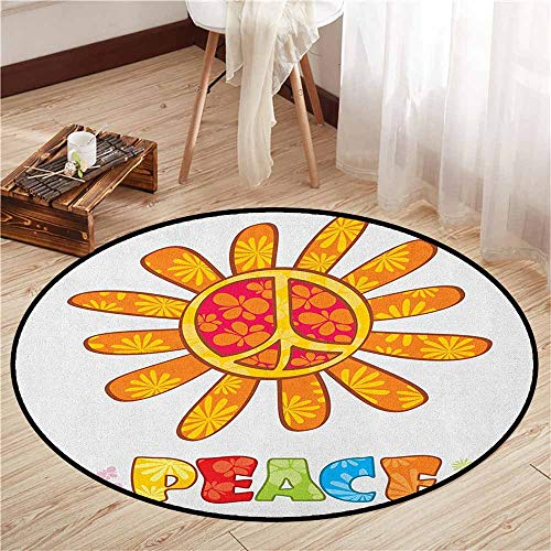 (Indoor/Outdoor Round Rugs,Groovy,Peace with Original Nature Flower Design More Empathy for The Earth Moral Theme,Anti-Slip Doormat Footpad Machine Washable,3'7