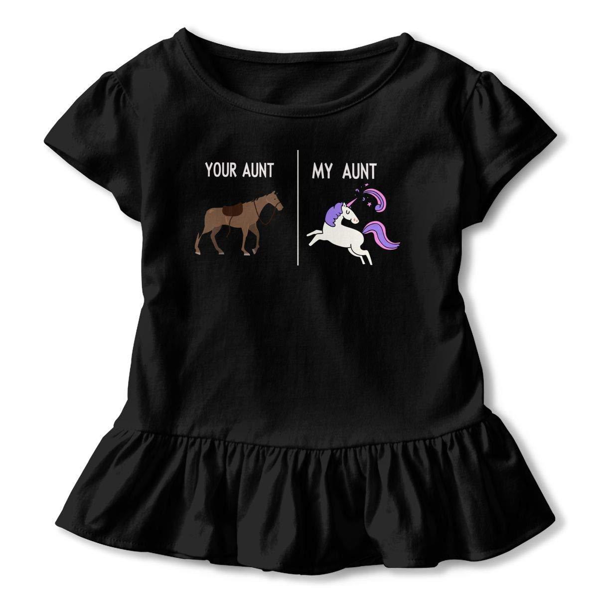 lu fangfangc Your Aunt My Aunt Horse Unicorn Toddler Girls T Shirt Kids Cotton Short Sleeve Ruffle Tee