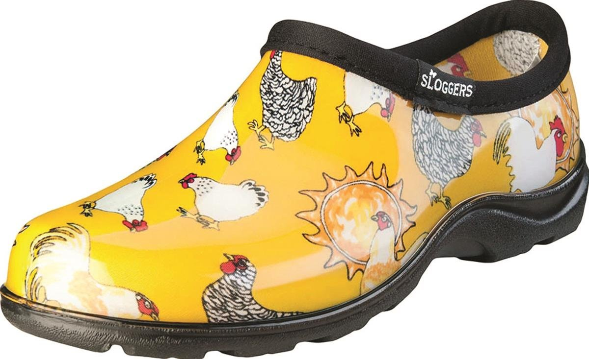Sloggers Women's WaterproofRain and Garden Shoe with Comfort Insole, Chickens Daffodil Yellow, Size 8, Style 5116CDY08