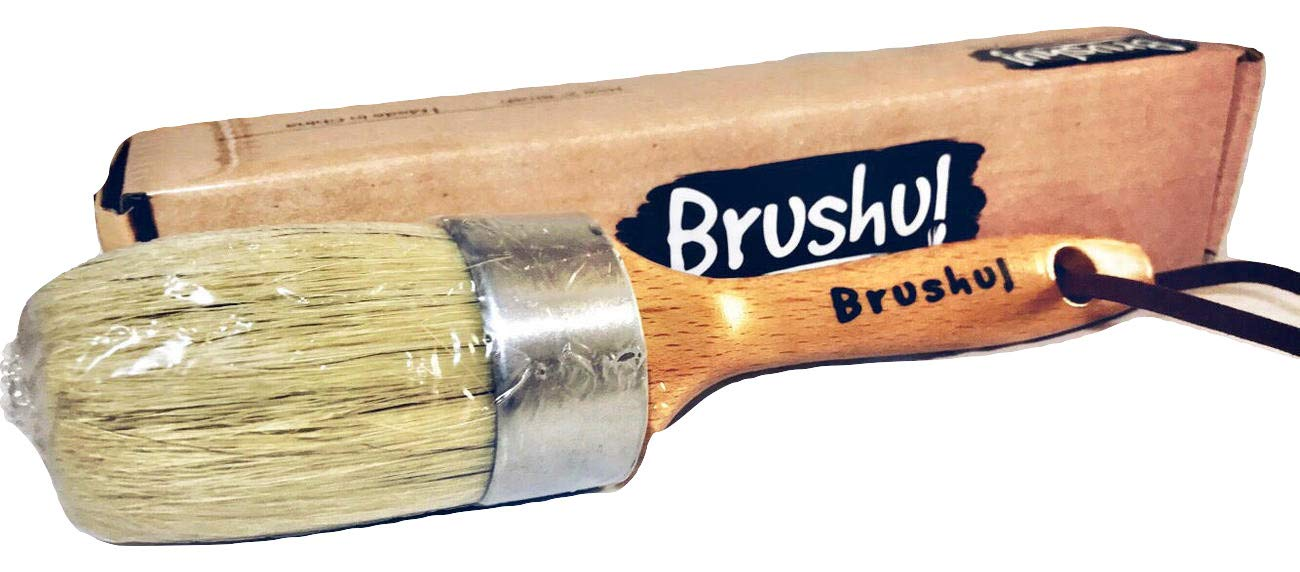 Brushul | Premium Chalk & Wax Paint Brush | 9'' Length, 2'' Round | Solid Wood | Natural Boar Hair Bristles | Home Decor Wood Furniture Painting Projects | Box Included by Brushul