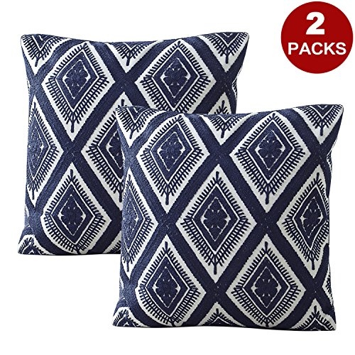 LIFONDER Embroidery Decorative Throw Pillow Covers - Geometric Diamond Pattern Cotton Cushion Covers Pillow Shams Cases with Invisible Zipper for Sofa/Couch/Chair, 18x18 Inch, Navy Blue, Set of 2