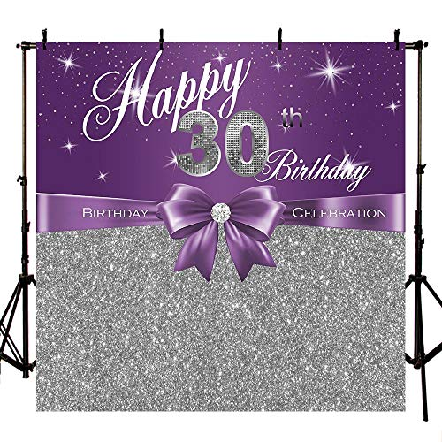 MEHOFOTO Woman Happy 30th Birthday Photo Background Purple and Silver Glitter Bow Birthday Celebration Banner Backdrops for Photography 8x8ft