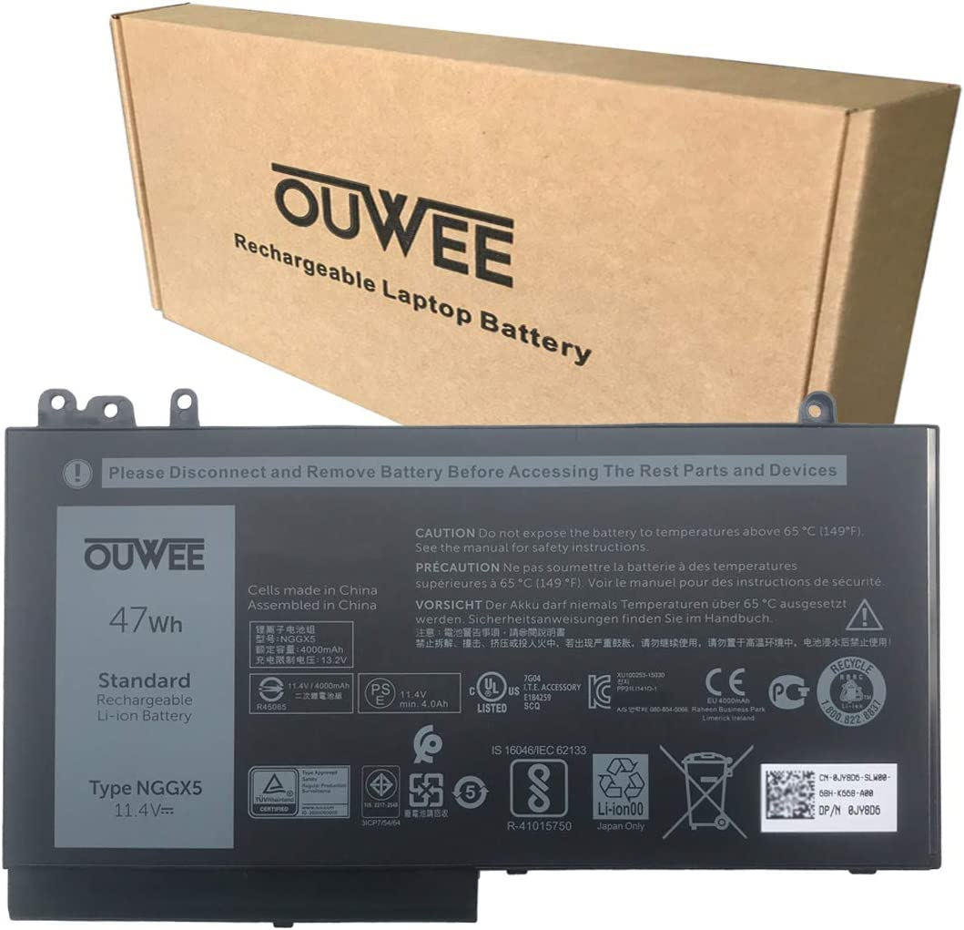 OUWEE NGGX5 Laptop Battery Compatible with Dell Latitude E5270 E5470 E5570 Precision 3510 Series Notebook 954DF JY8DF XWDK1 451-BBUN 451-BBUM NCVW8 451-BBUK XKWC7 53VJ6 451-BBUL RDRH9 11.4V 47Wh