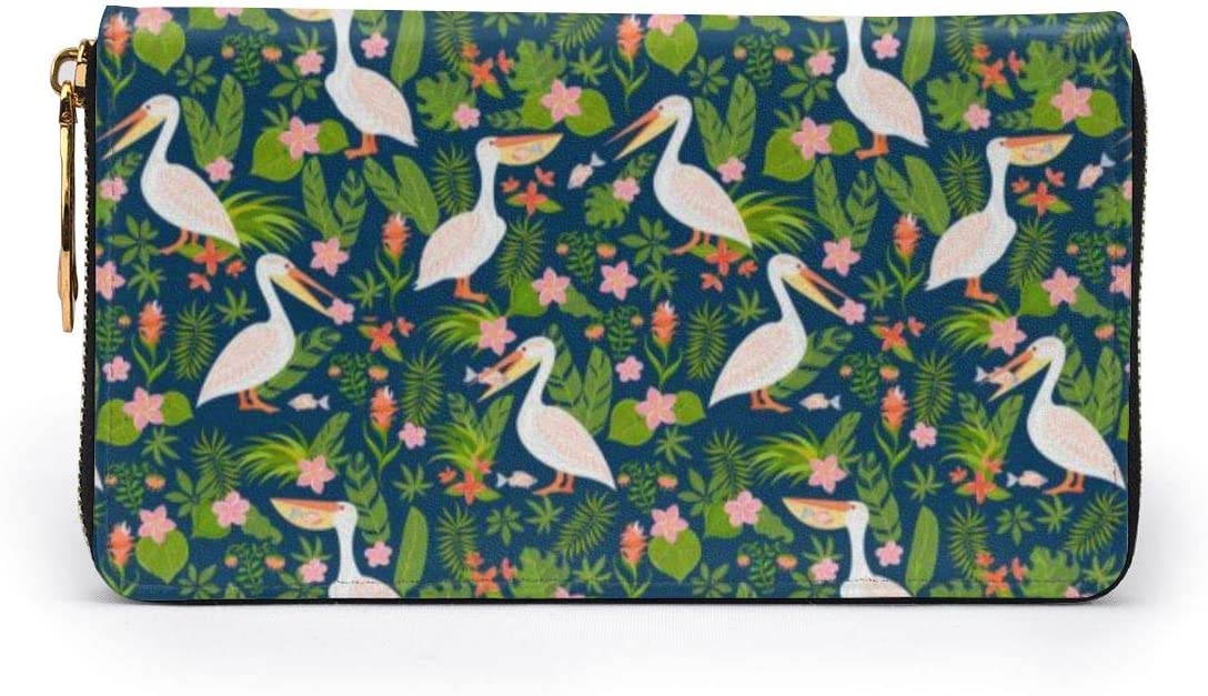 Pelicans Tropical Flowers And Leaves Womens RFID Blocking Zip Around Wallet Genuine Leather Clutch Long Card Holder Organizer Wallets Large Travel Purse
