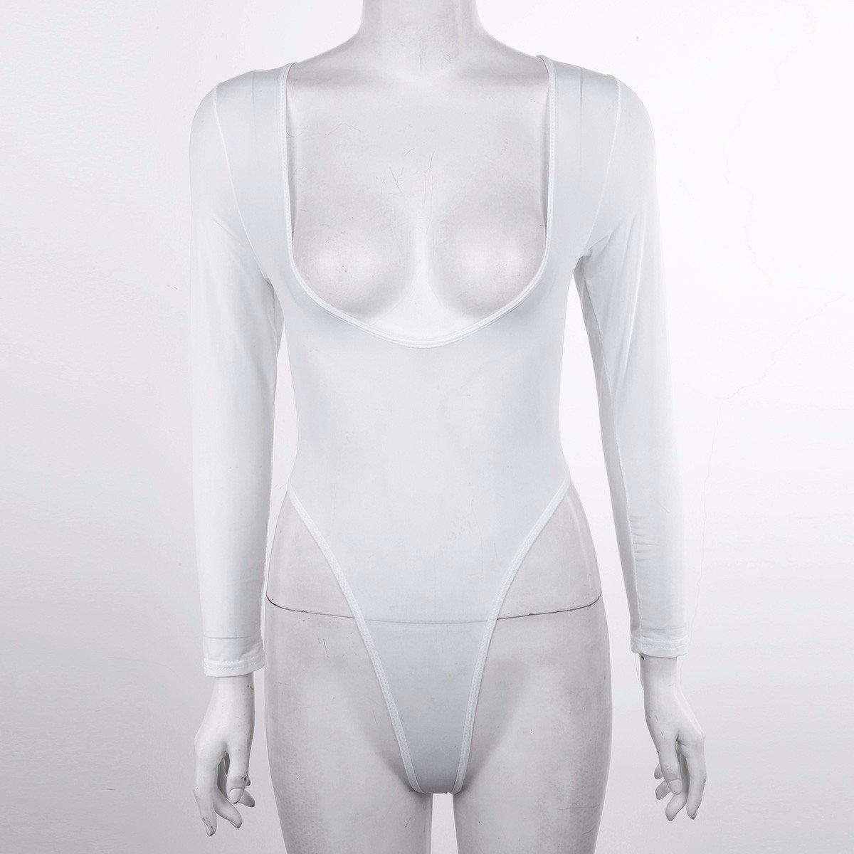 TiaoBug Body Femme String Justaucorps Combinaison V Col Élastique Bodysuit  Grenouillère Manches Longues Transparent Moulante Lingerie Overt Bas B  Blanc ... 705180ff7fc